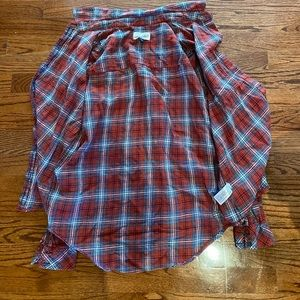 Red checkered plaid button up
